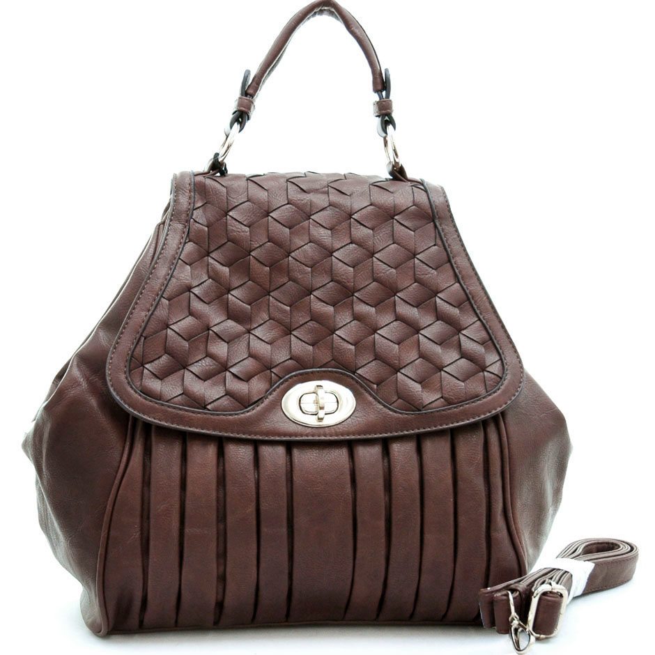 Emperia Pleated Satchel Bag Handbag with Woven Design-Brown
