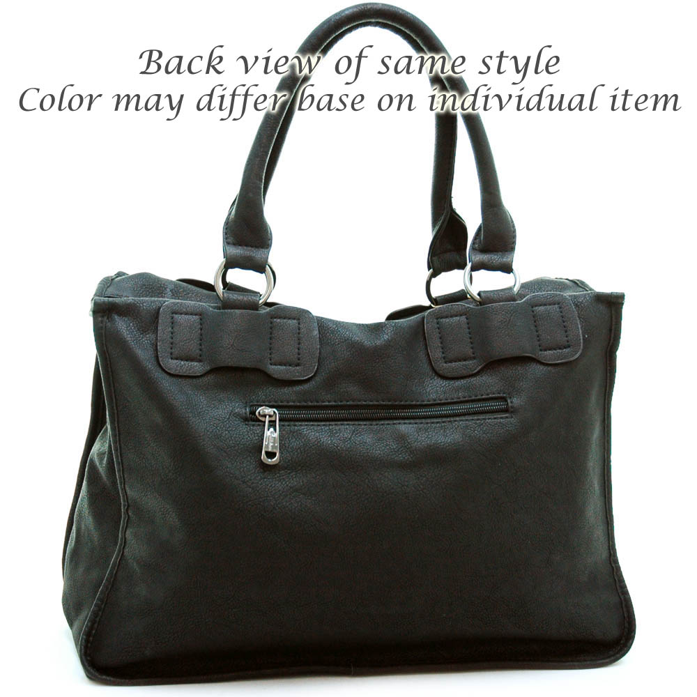Briefcase style fashion tote bag with detachable strap Black