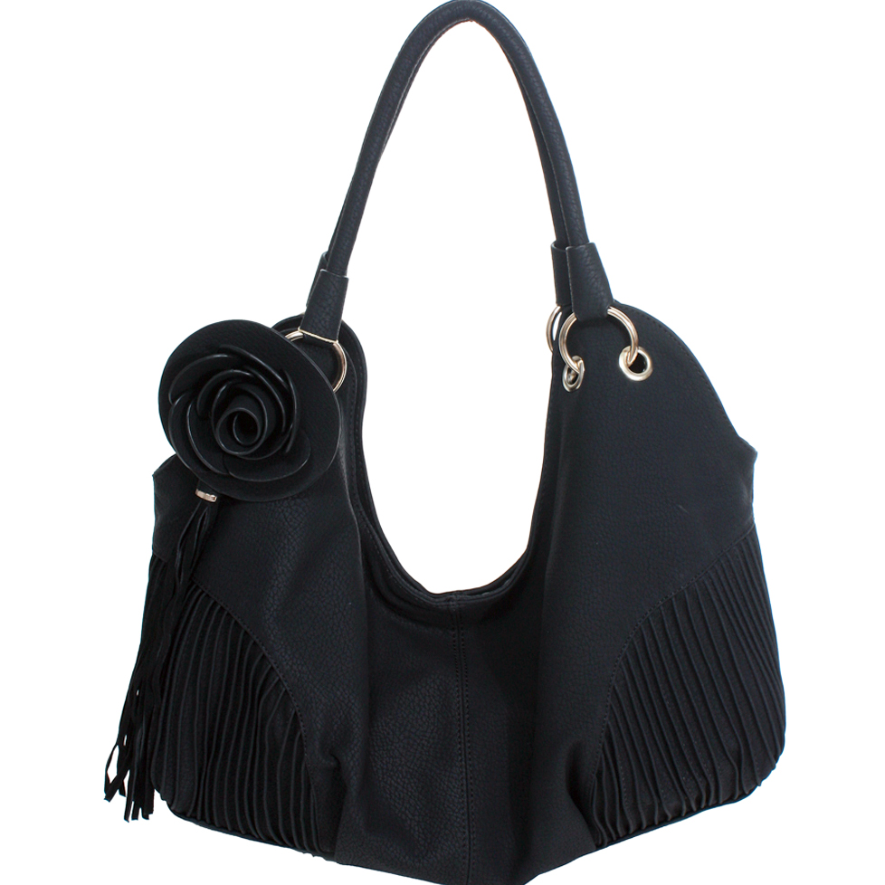Pleated hobo bag w/ rosette tassel accents