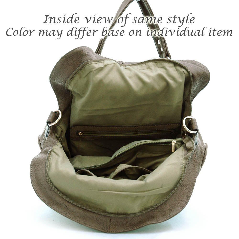 Satchel bag with fold over flap and decorative twist lock Coffee
