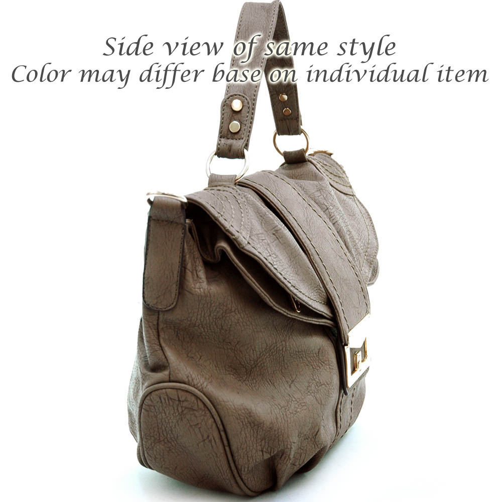 Satchel bag with fold over flap and decorative twist lock Brown