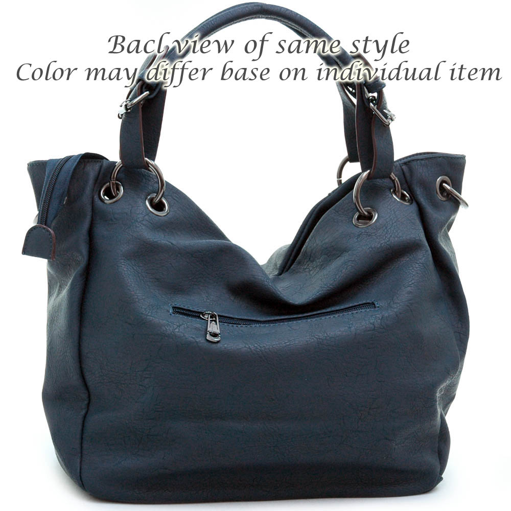 Tote bag w/ decorative zippered front pockets & detachable strap