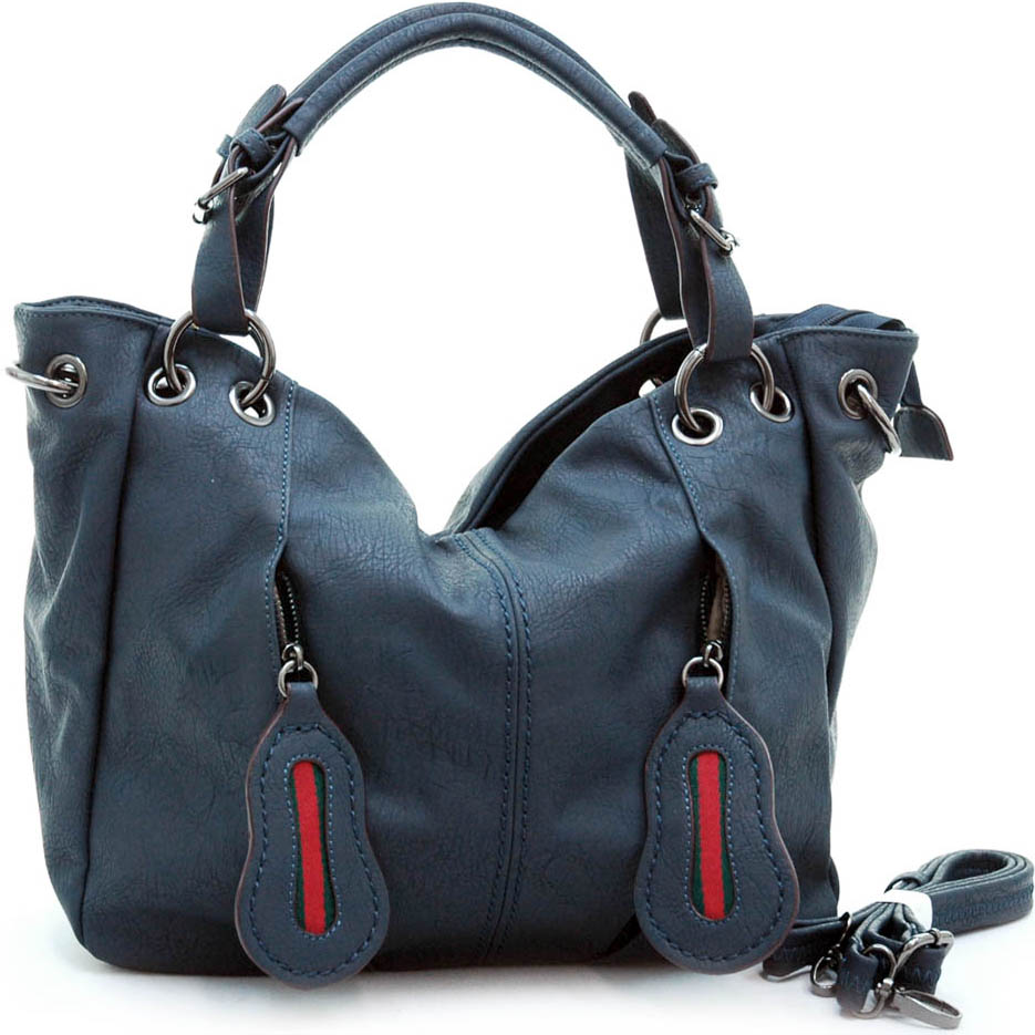 Tote Bag with Decorative Zippered Front Pockets & Detachable Strap