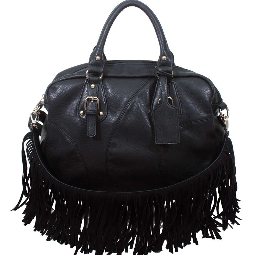 Alyssa Western Style Satchel Bag with Detachable Fringe Shoulder Strap-Black