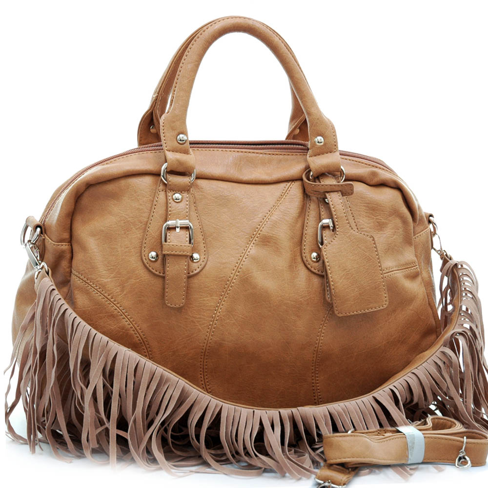 Alyssa Western Style Satchel Bag with Detachable Fringe Shoulder Strap-Tan