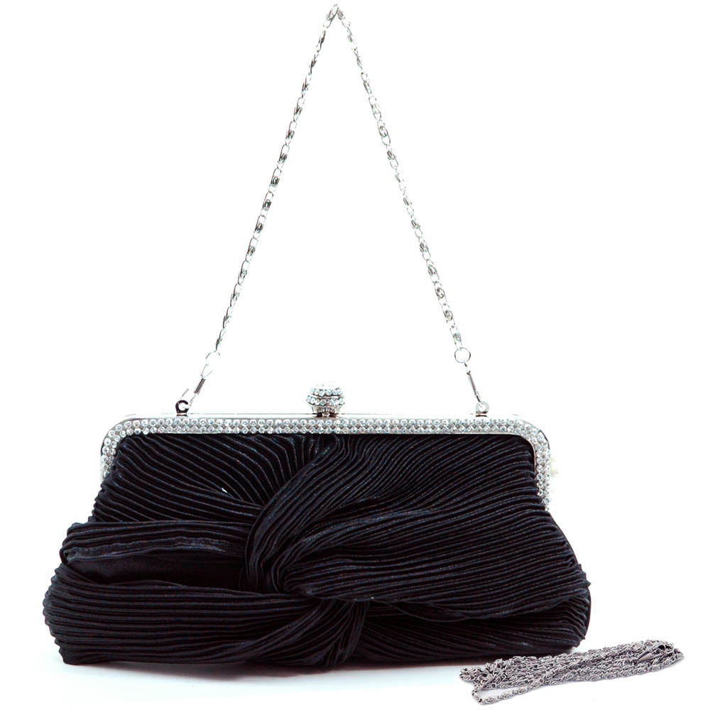 Rhinestone Frame Twist Knot Evening Bag