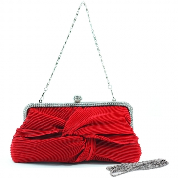 Pleated twist knot evening bag w/ rhinestone trim