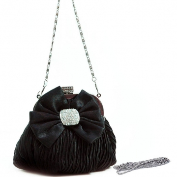 Pleated satin evening bag w/ bow rhinestones for women Black