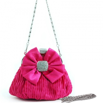 Pleated satin evening bag w/ bow rhinestones