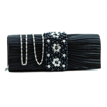 Pleated evening bag clutch w/ rhinestone & pearl accented flap