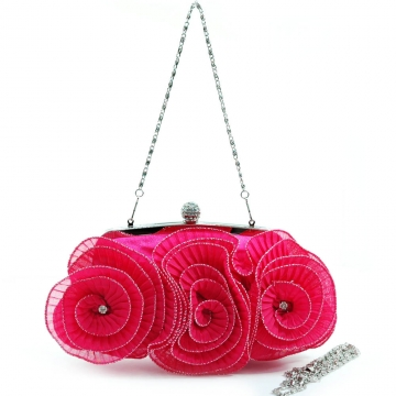 Pleated rosette evening bag clutch with rhinestone accents