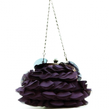 Dasein Tiered Fabric Evening Bag Clutch with Push Lock Opening-Purple