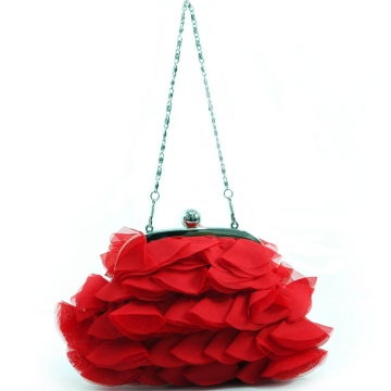 Dasein Tiered Fabric Evening Bag Clutch with Push Lock Opening-Red