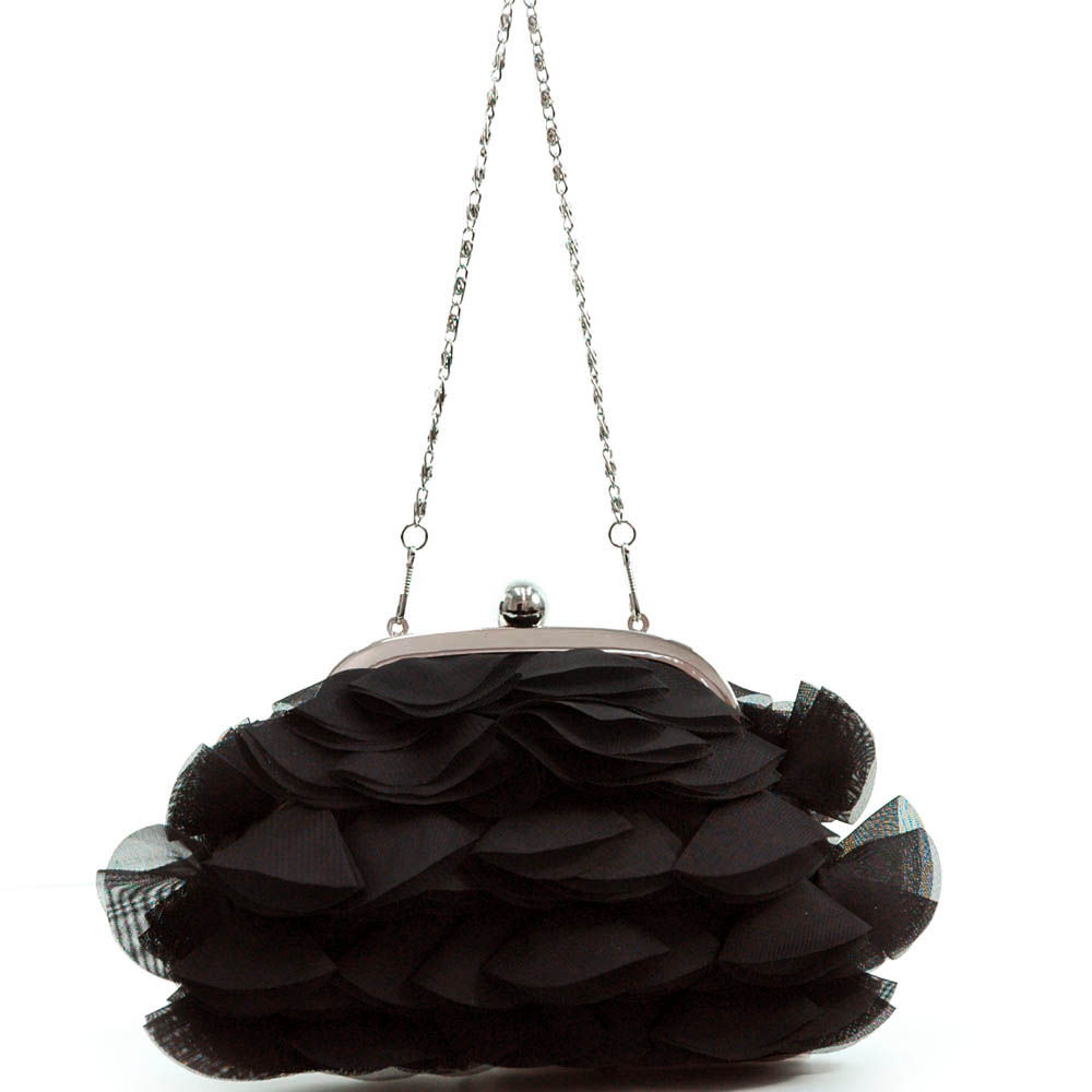 Layered Rosette Evening Bag with Push Lock Opening