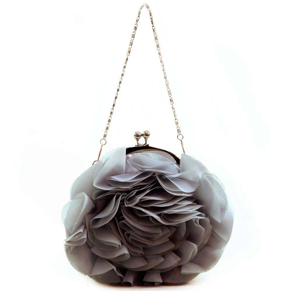 Round Rosette Evening Bag with Kiss Lock Opening