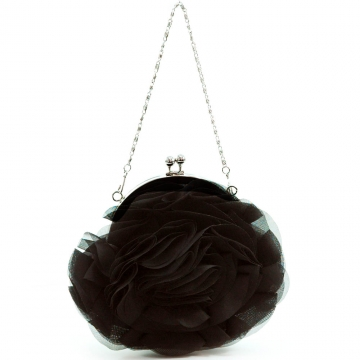 Tiered fabric rosette evening bag satin clutch
