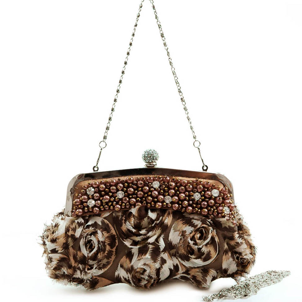 Pearls & Rhinestones Rosette Evening Bag