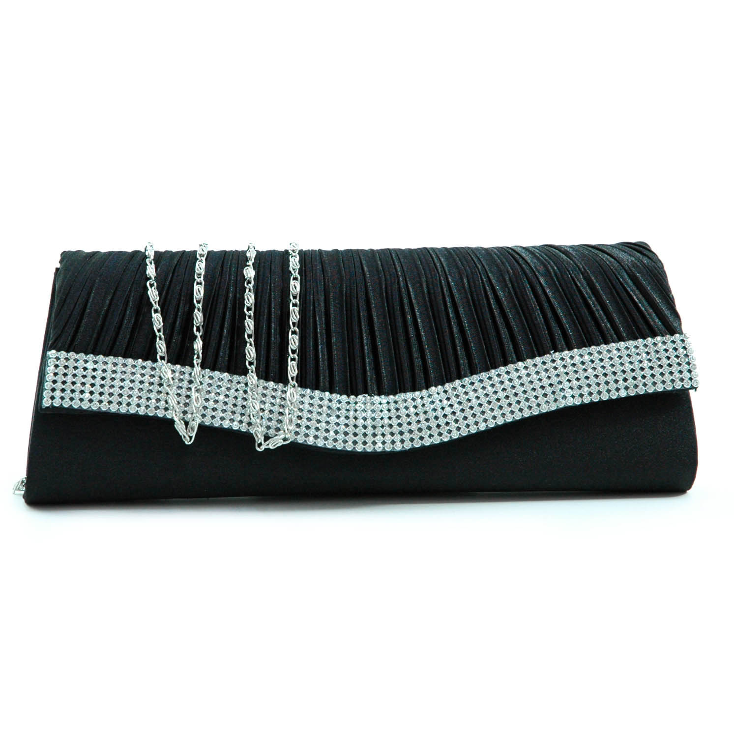 Pleated flap evening bag clutch w/ rhinestone trim