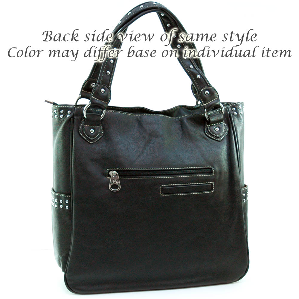 Western studded tote bag w/ turquoise accents