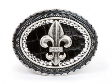 Dasein Rhinestone Fleur de Lis with Croco Print Leather Belt Buckle-Black