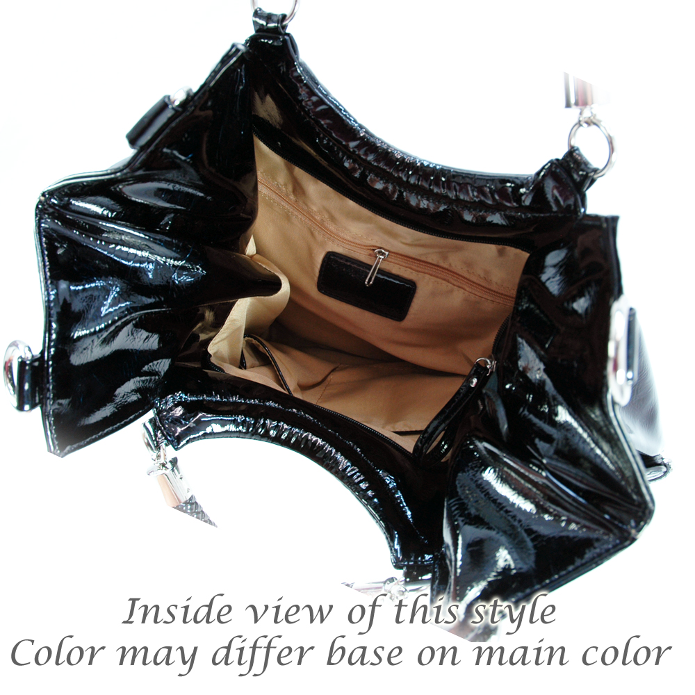 Dasein shiny side buckle accents shoulder bag
