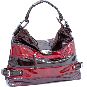 Shiny Striped Hobo Bag