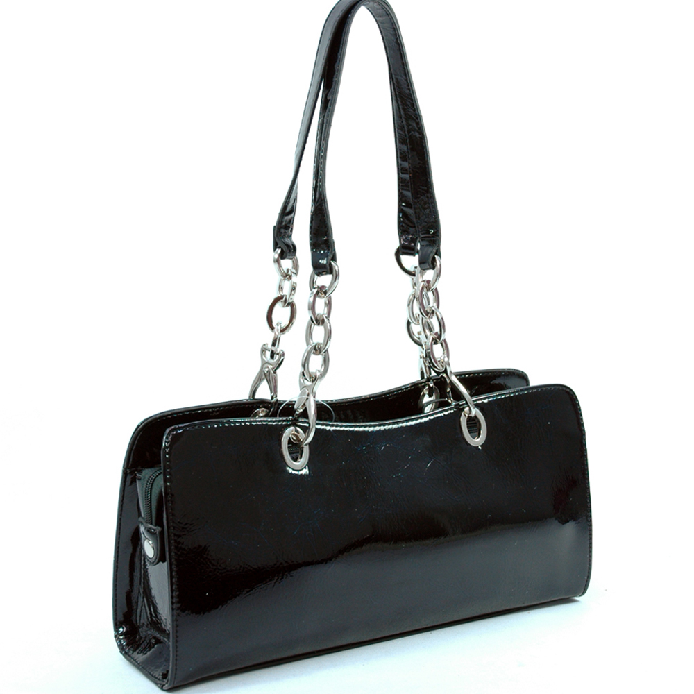 Dasein shiny shoulder bag with chain