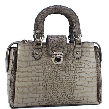 Dasein Designer Inspired Satchel Bag with Trendy Croco  Embossed Accent-Grey
