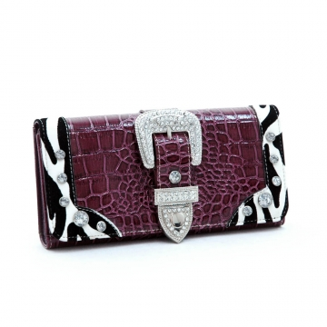 Dasein Croco Embossed Checkbook Wallet with Rhinestone Buckle-Purple