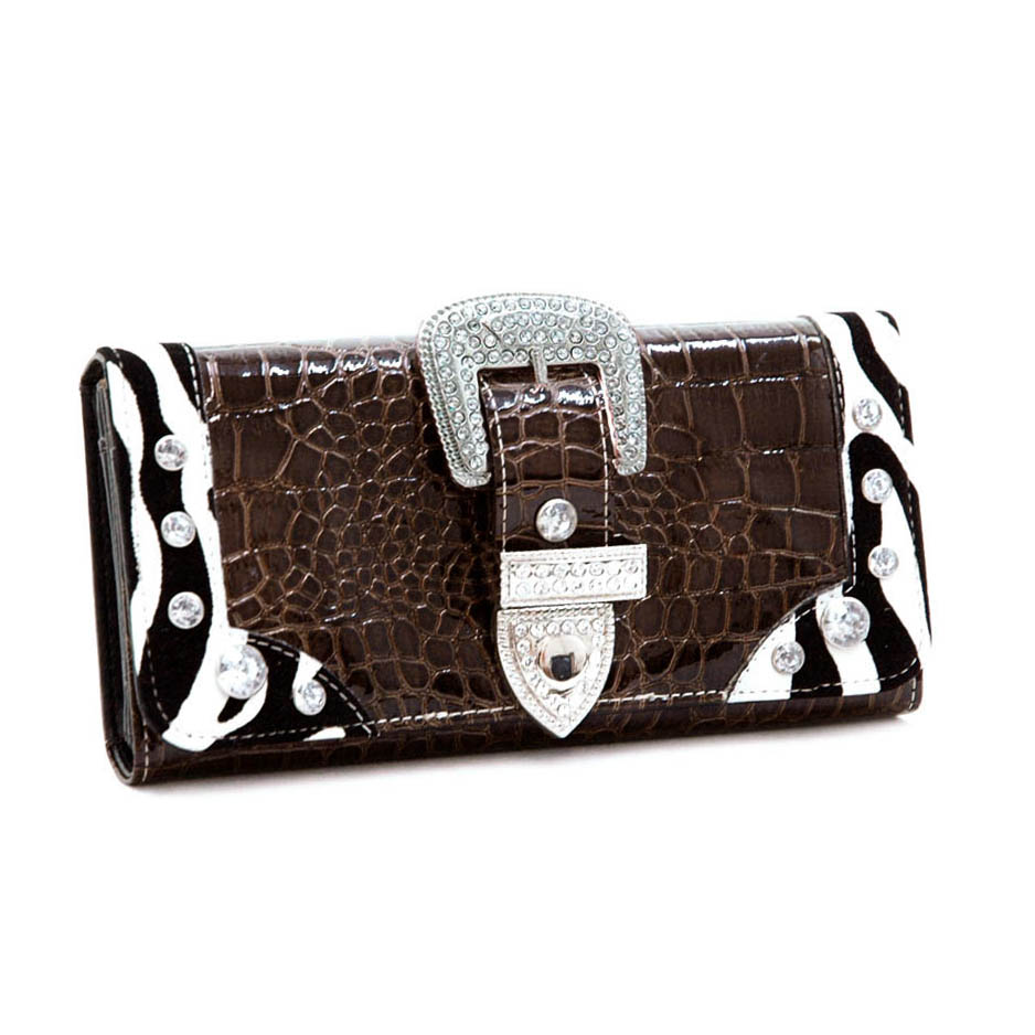 Coffee Dasein Croco Embossed Checkbook Wallet with Rhinestone Buckle
