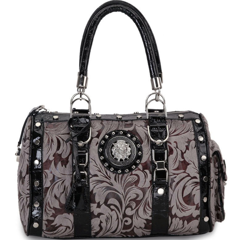 Designer Inspired Floral Print Satchel Bag with Side Pocket and Lion Emblem-Grey