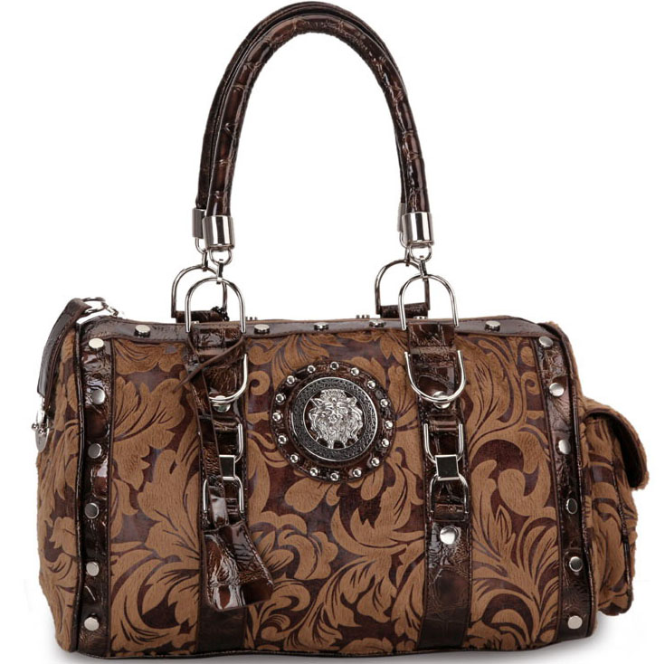 Designer Inspired Floral Print Satchel Bag with Side Pocket and Lion Emblem-Taupe