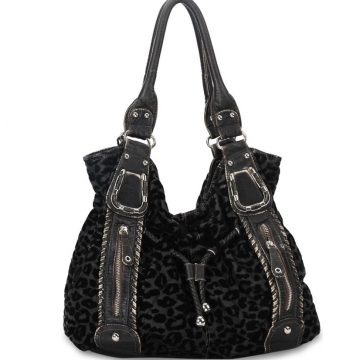 Stone washed animal print hobo bag w/ braided drawstring accents