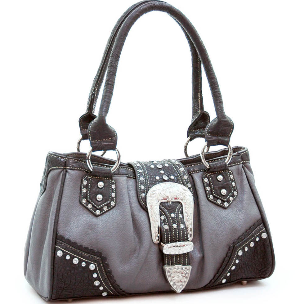 Western studded shoulder bag w/ rhinestone accents
