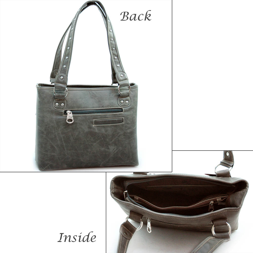 Montana West Studded Tote with Flower - Grey