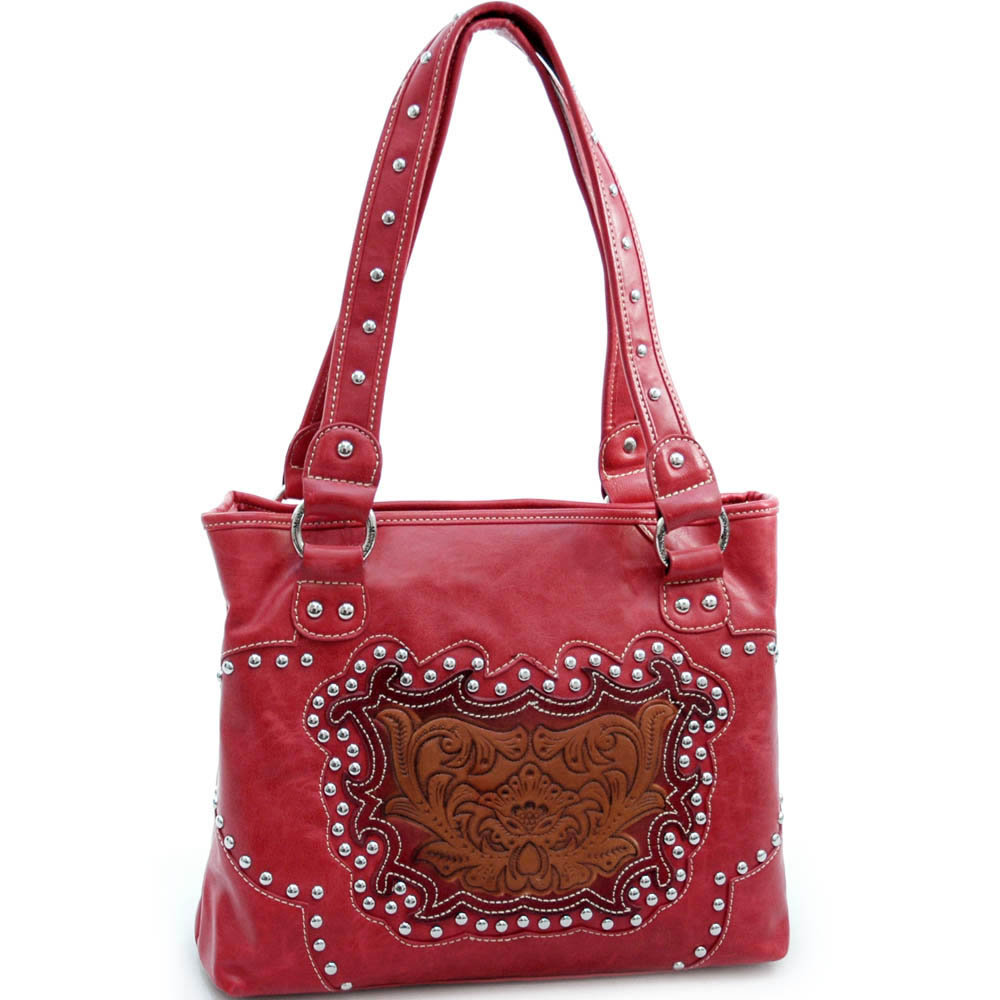 Montana West Studded Tote with Flower - Red