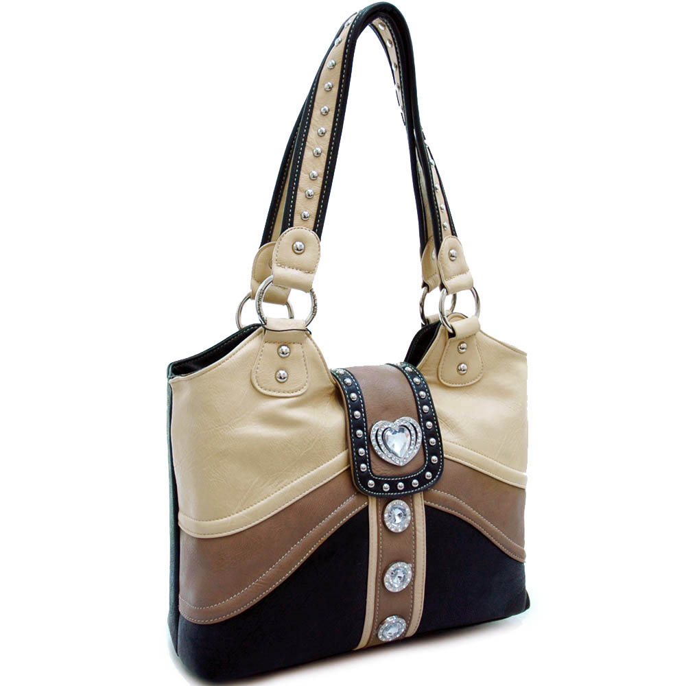 Studded colorblock tote bag with rhinestone heart accent