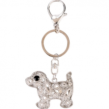 Rhinestone puppy dog key chain