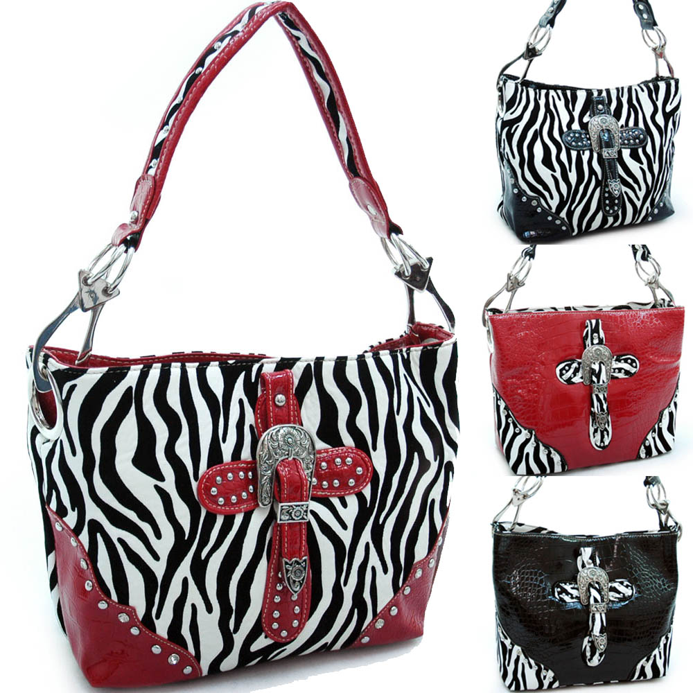 Montana Westv Studded Tote with Zebra Trim and Rhinestone Cross - Black