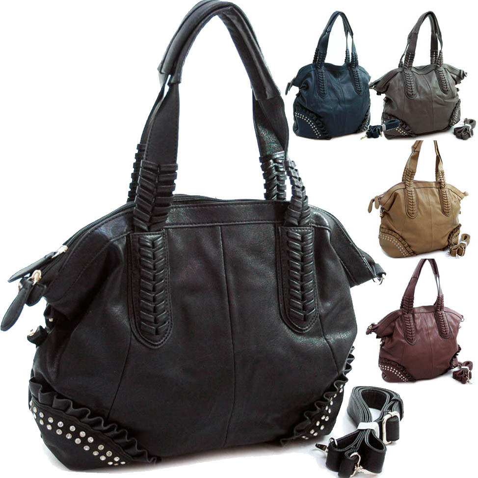 Diophy Studded Tote with Multiple Compartments & Detachable Strap - Grey
