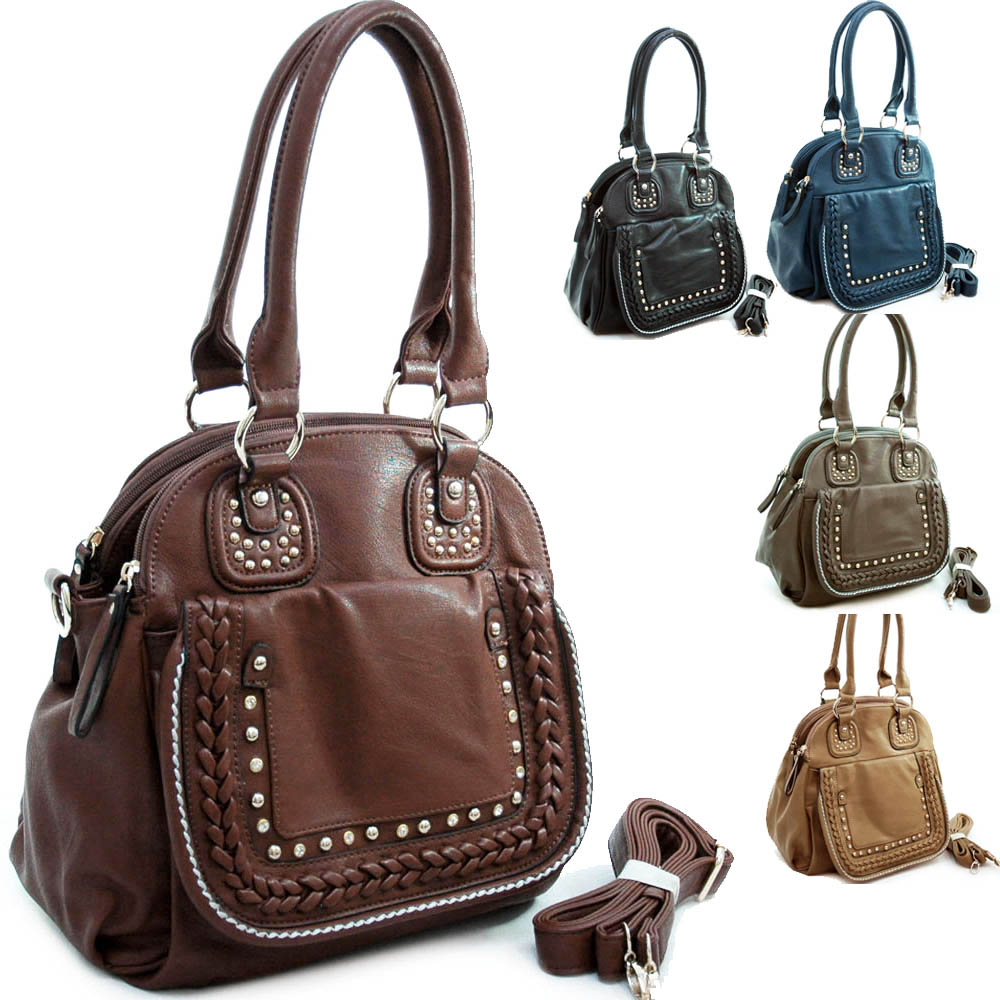 Diophy Designer Inspired Studded Satchel with Multiple Compartments & Detachable Strap-BROWN