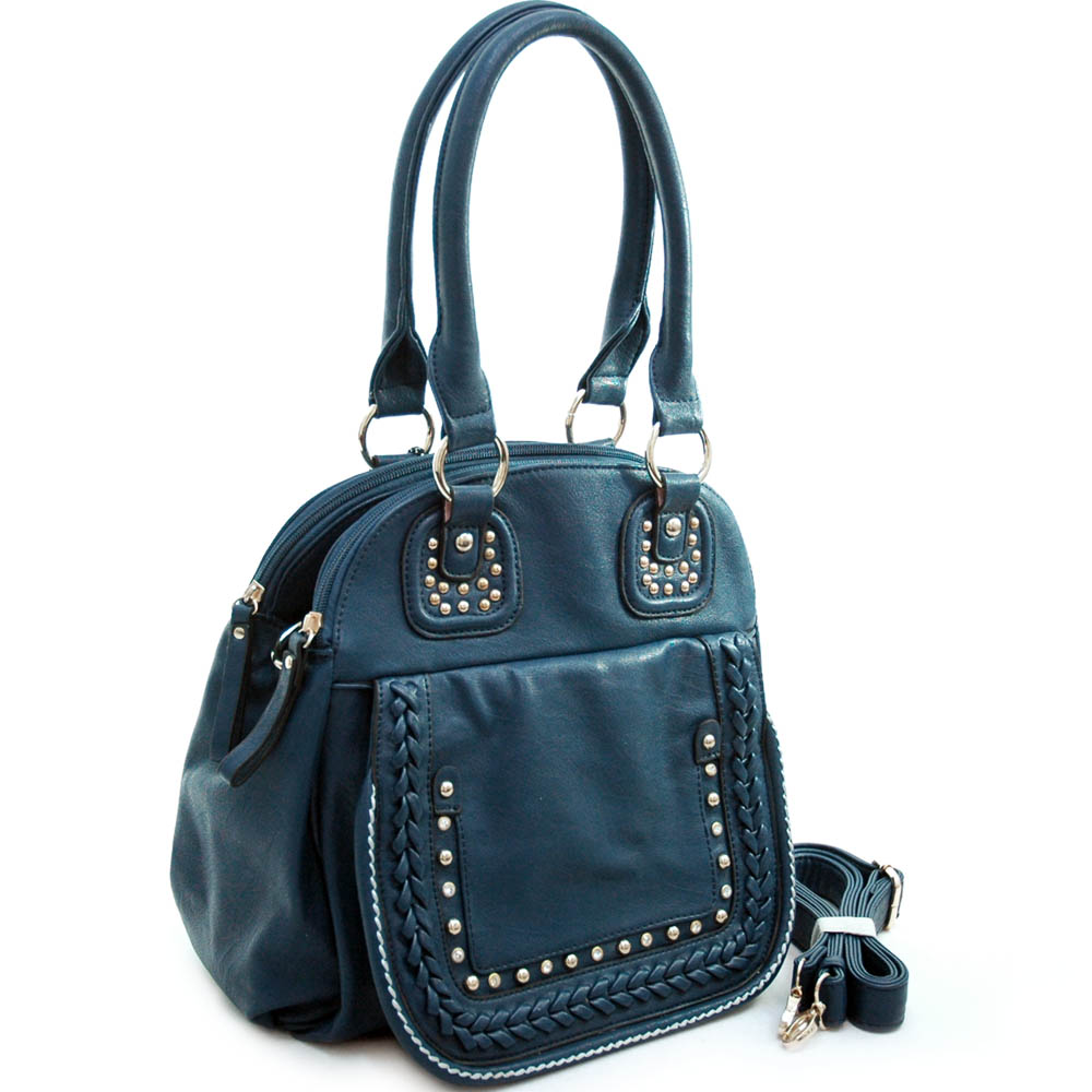 Diophy Designer Inspired Studded Satchel with Multiple Compartments & Detachable Strap-NVY
