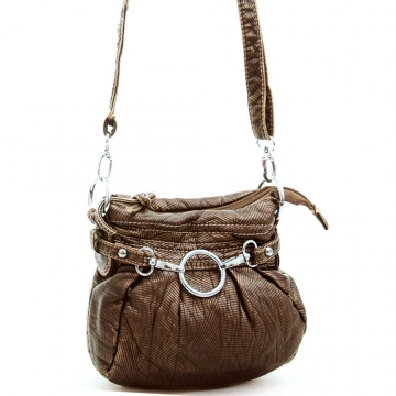 Ustyle Stone Washed Petite Cross Body Bag with Detachable Strap-Bronze