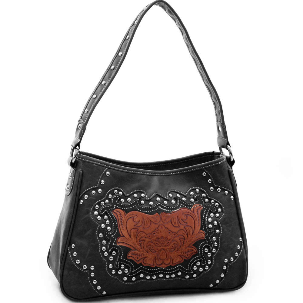 Studded western shoulder bag w/ floral embossed pattern