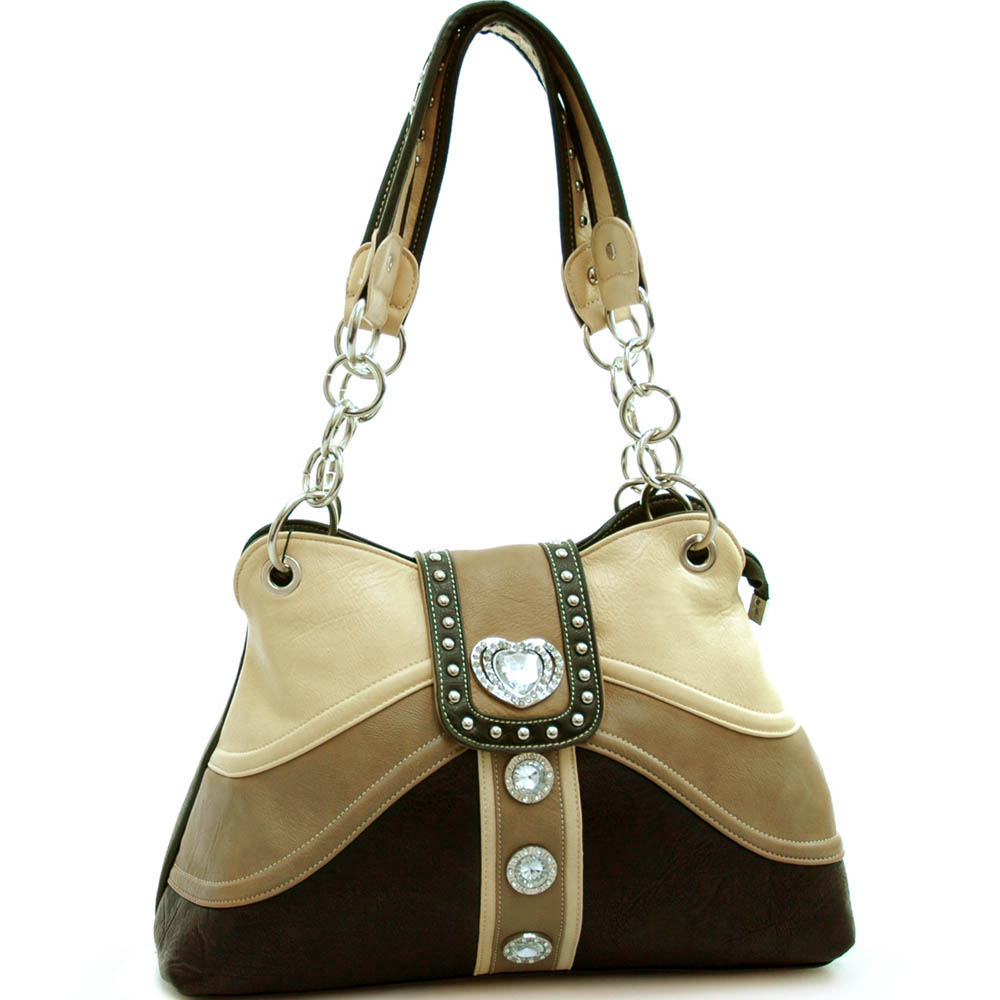 Studded colorblock shoulder bag with rhinestone heart accent