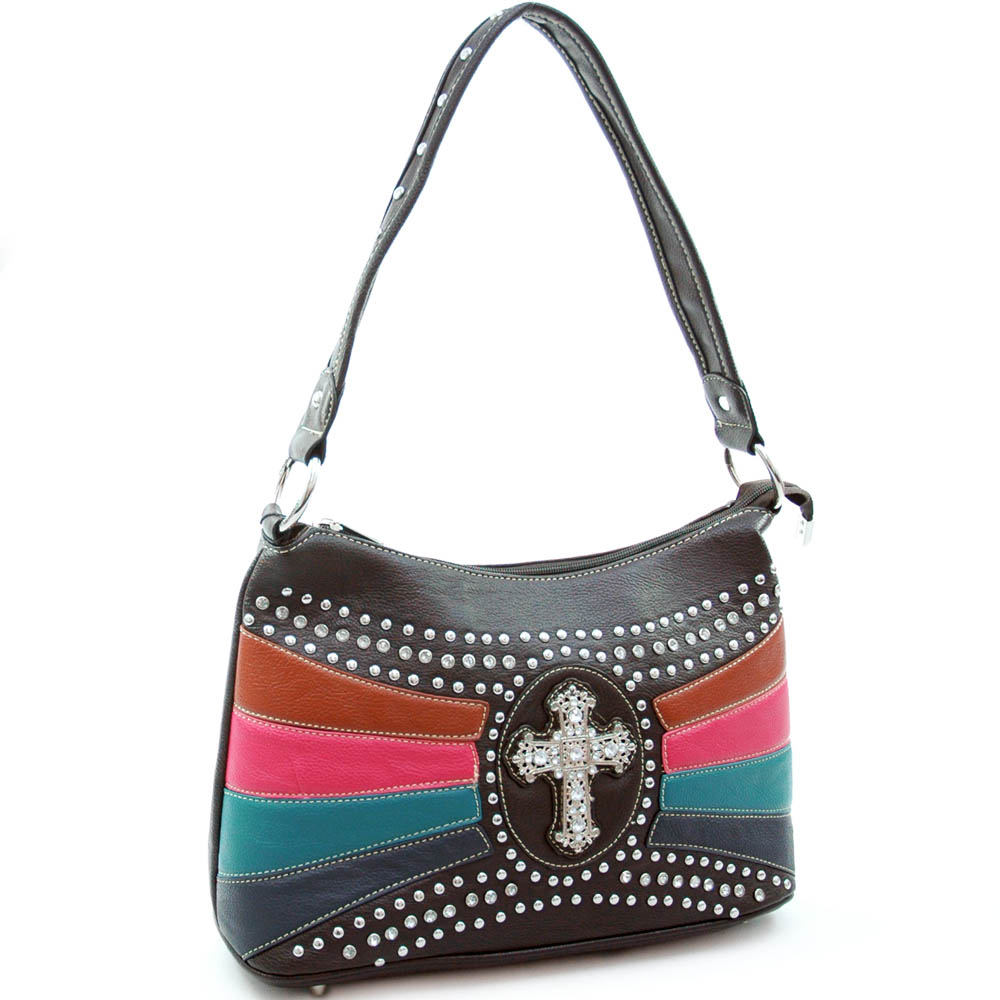 Studded shoulder bag with rhinestone cross accent