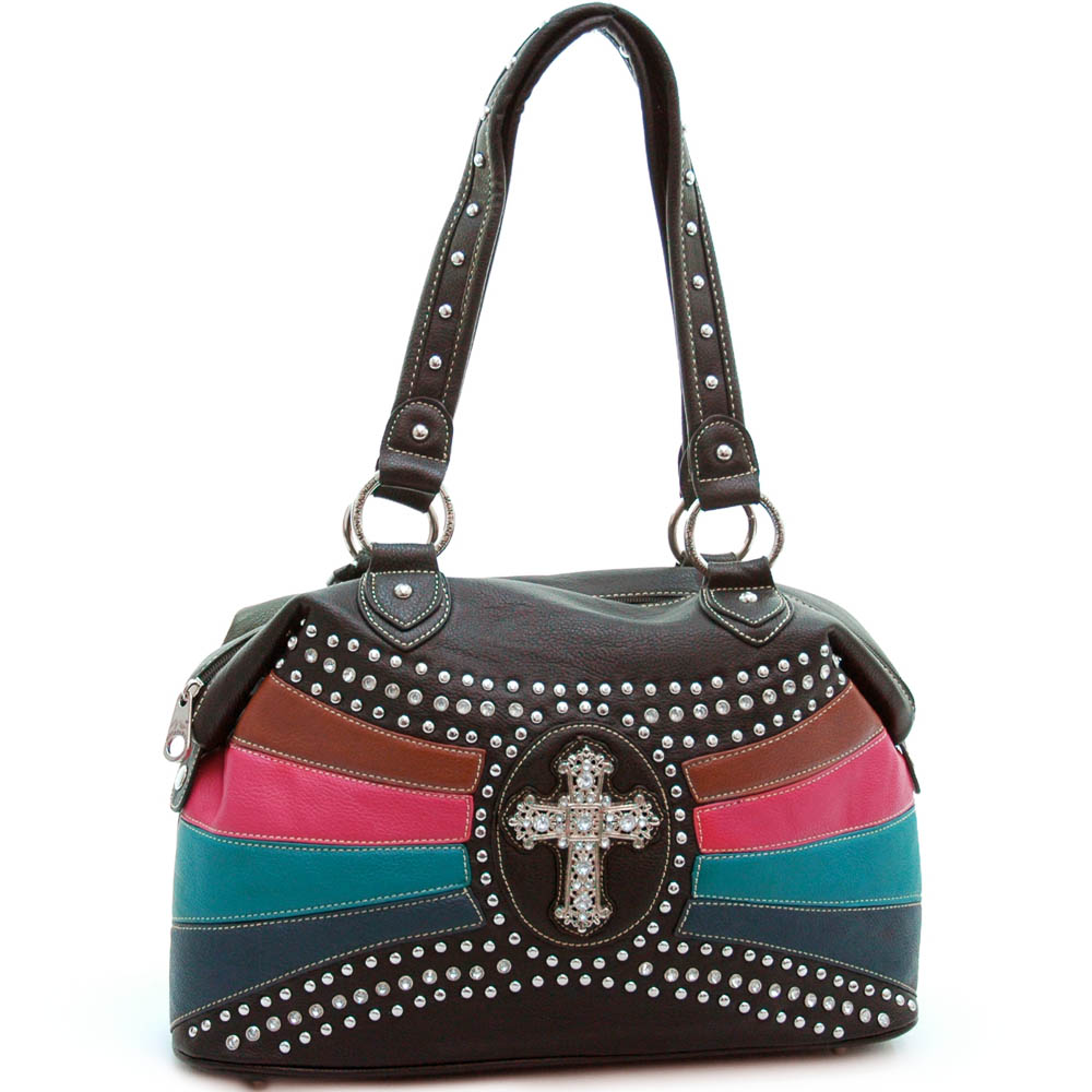 Studded tote/ satchel bag with rhinestone cross accent
