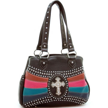 Studded satchel/ tote bag with rhinestone cross accent Coffee/ Mixed