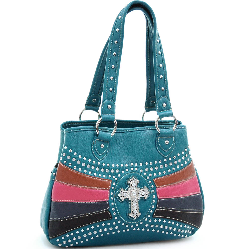 Studded satchel/ tote bag with rhinestone cross accent