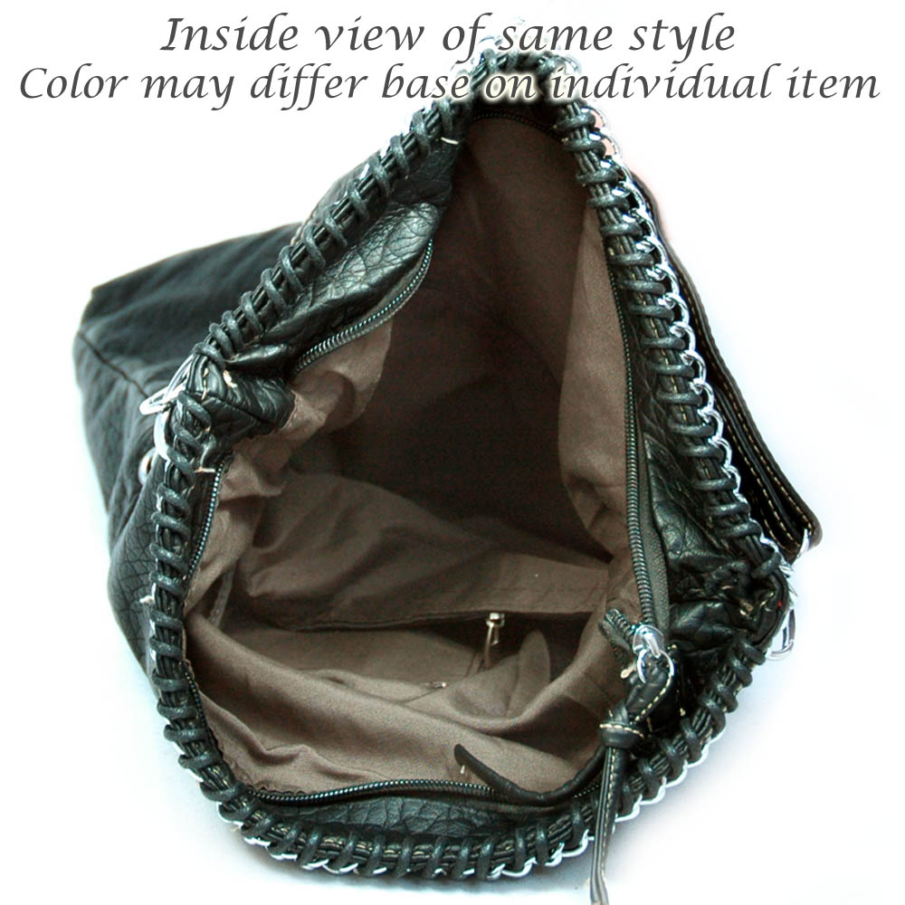 Soft fashion stone washed convertible tote bag w/ fold over flap